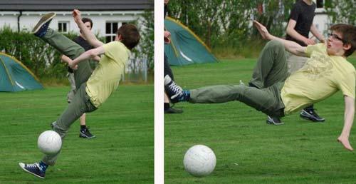 fotografía que muestra la caída de un chico