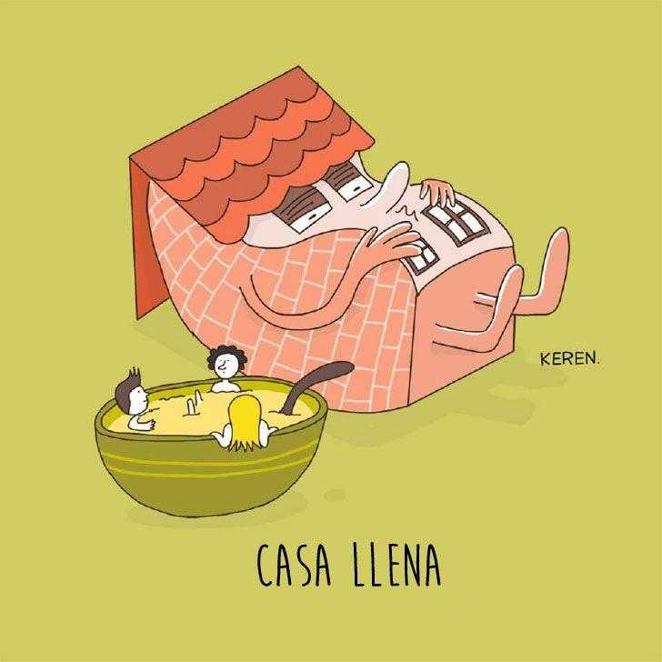 """ilustración de una casa a lado de un plato hondo representando la frase """"casa llena"""""""