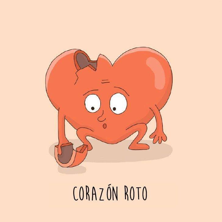 Ilustración que muestra a un corazón roto de la parte izquierda