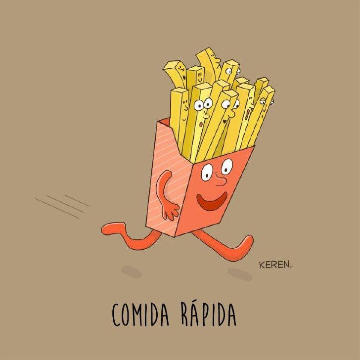 ilustración de unas papas fritas corriendo representando la comida rápida