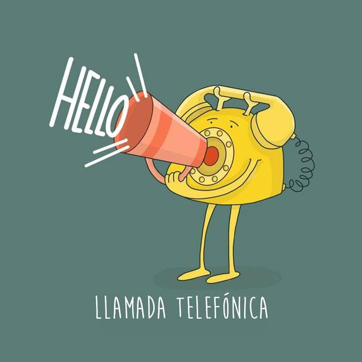 ilustración de un teléfono representando la frase llamada telefónica