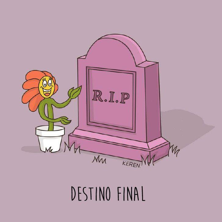 """ilustración que muestra una flor cerca de una tumba con la frase """"R.I.P."""""""