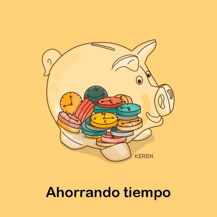"""ilustración de una alcancía de cochino representando la frase """"ahorrando tiempo"""""""