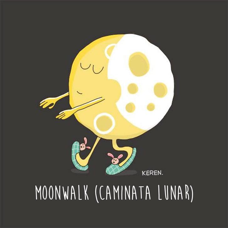 ilustración de una luna sonámbula