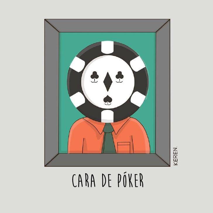"""ilustración de un cuadro representando la frase """"cara de póker"""""""