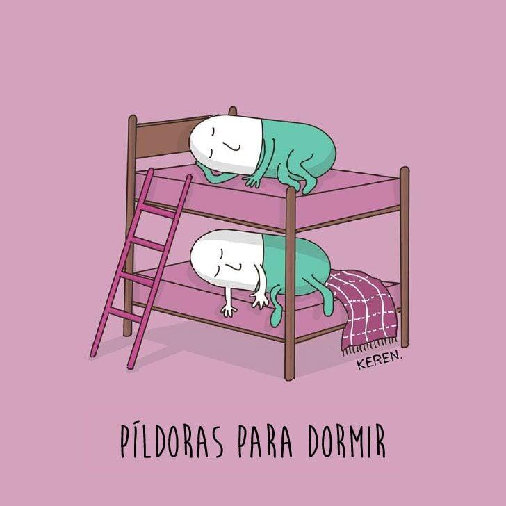 ilustración que representa de manera creativa las píldoras para dormir