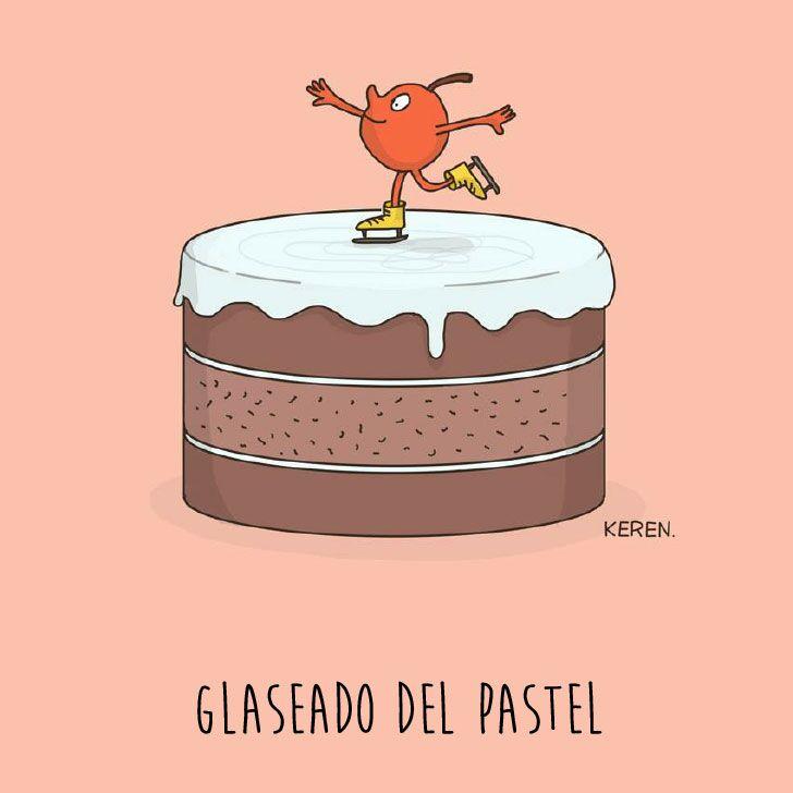 ilustración de una cereza sobre un pastel representando el glaseado