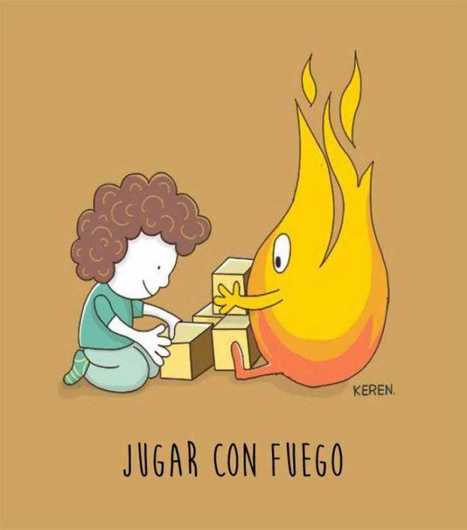 ilustración de un niño jugando con una llama de fuego