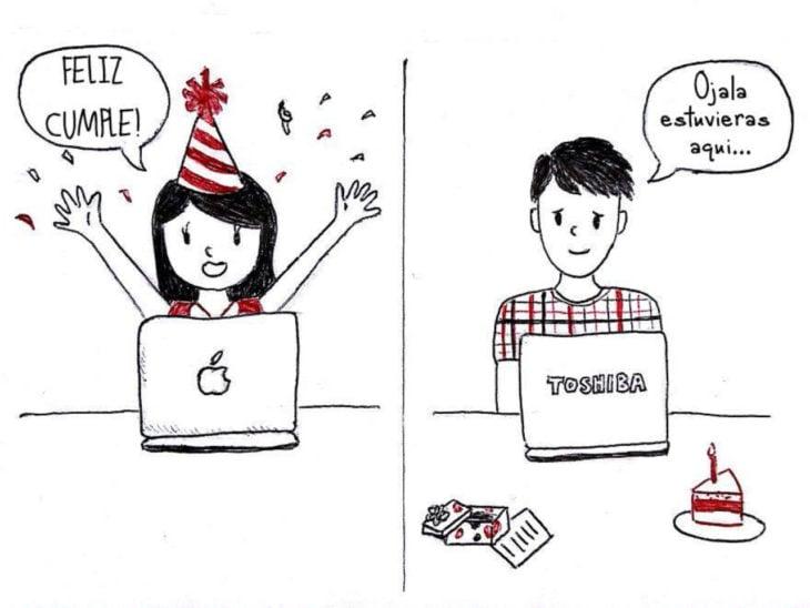 ilustración que muestra a una pareja celebrando su cumpleaños a larga distancia por medio de una videollamada