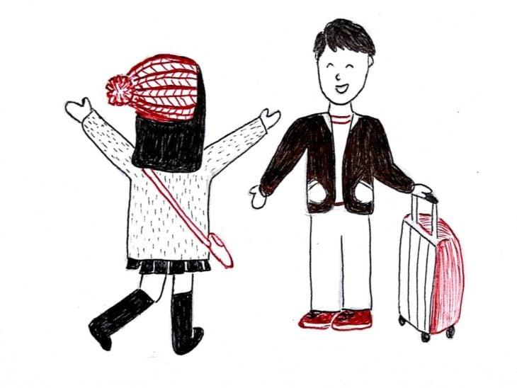 ilustración de una chica corriendo a los brazos de su pareja en el aeropuerto