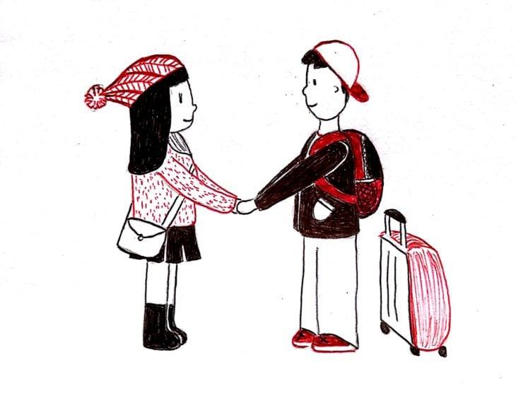 ilustración de una pareja despidiéndose