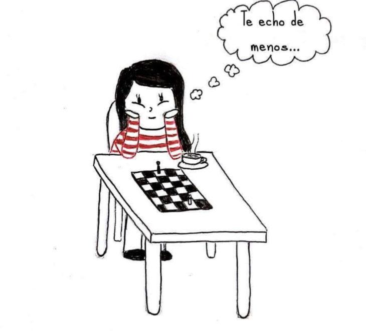 ilustración de una chica sentada en una mesa extrañando a su pareja