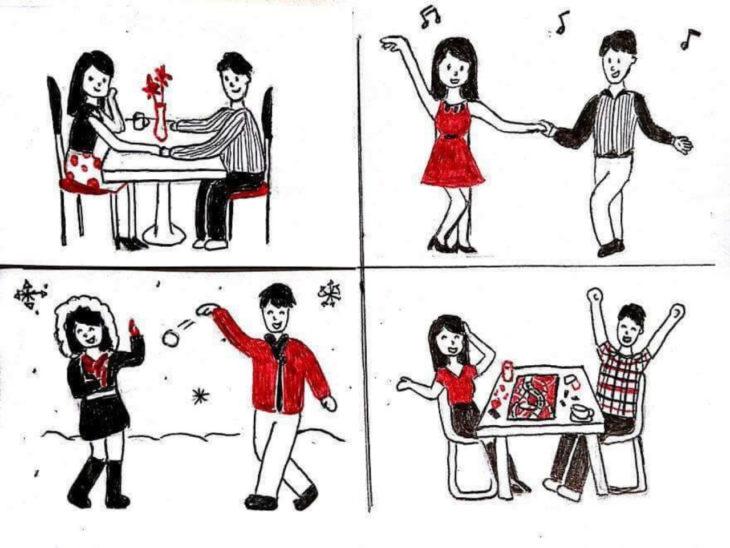 Ilustraciones de una pareja viviendo varios momentos felices juntos