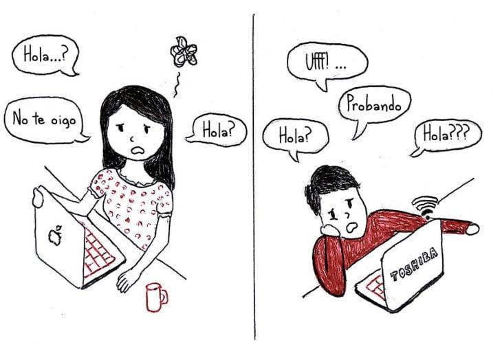 ilustración de una pareja a larga distancia estressada por que el internet esta lento