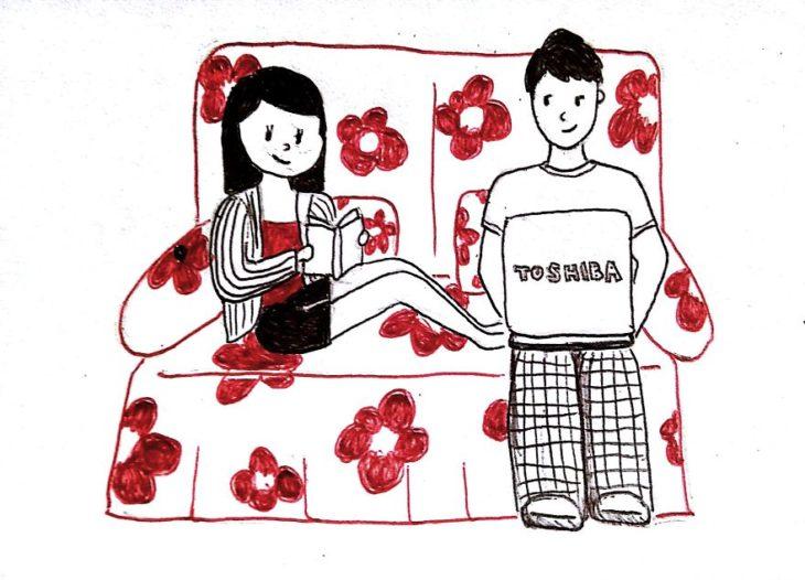 ilustración de una pareja sentada en un sillón