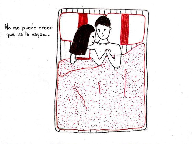 ilustración de una pareja acostada en una cama