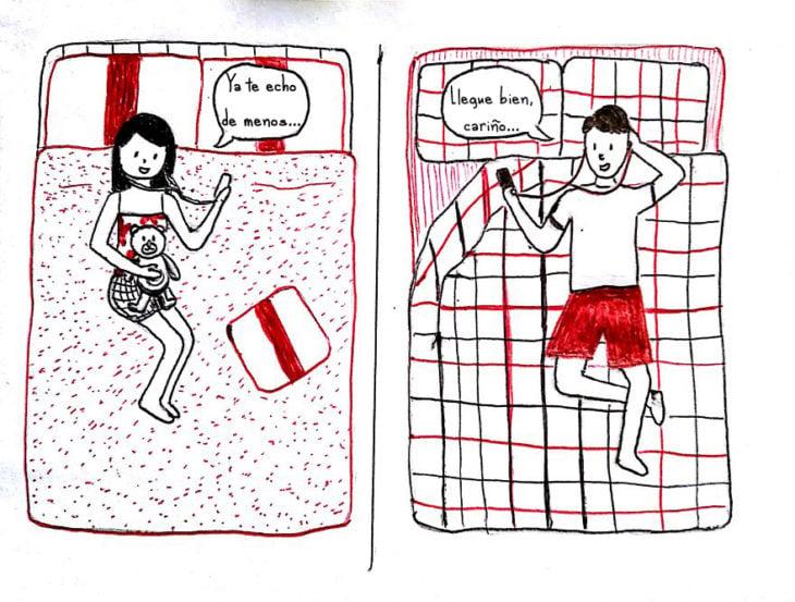 ilustración de una pareja teniendo una videollamada de larga distancia