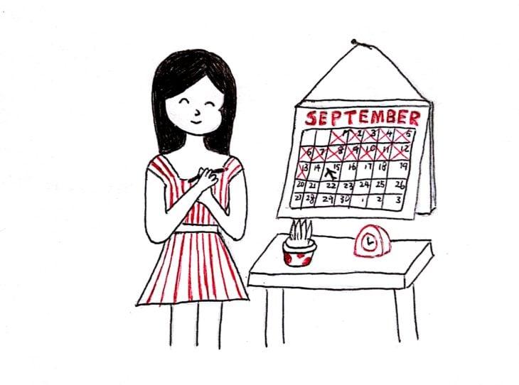 ilustración de una chica marcando los días en un calendario