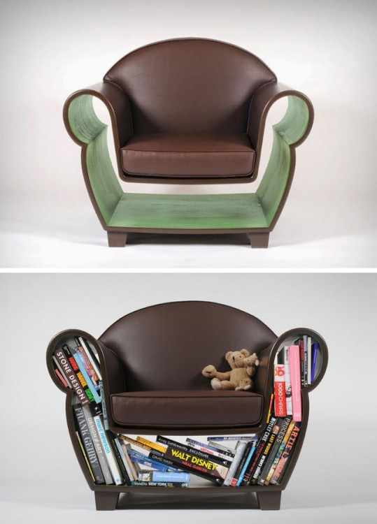 sillón con espacio para acomodar libros