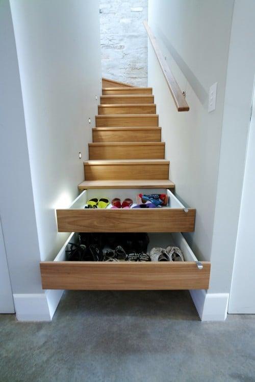 escaleras que son cajones para guardar cosas