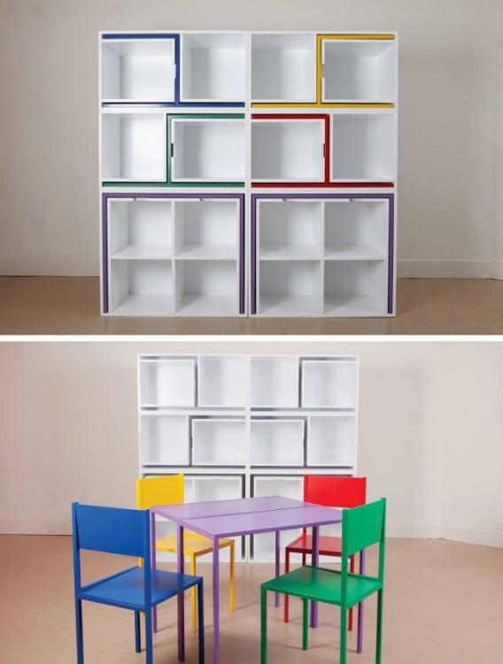 estante donde puedes guardar sillas y mesas
