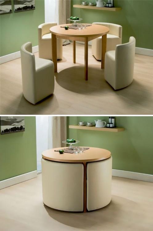 comedor con sillas que se pueden guardar bajo ella
