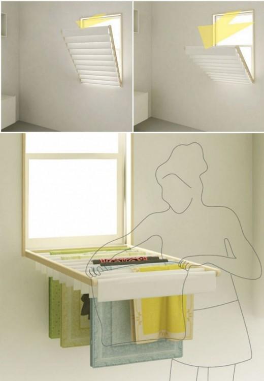 persianas de ventana que al desplegarse se convierten en estantes para tender ropa