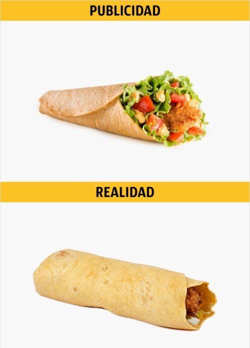 PUBLICIDAD/REALIDAD, Twister con queso, de KFC