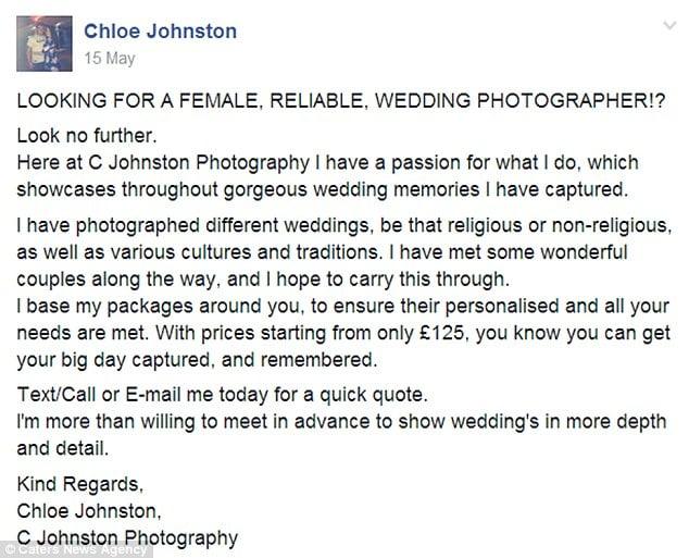 captura de pantalla de una publicación en Facebook de Chloe Johnston
