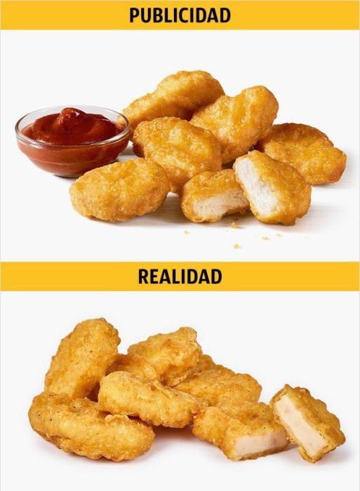 PUBLICIDAD/REALIDAD, unos nuggets de pollo de MC DONALD'S