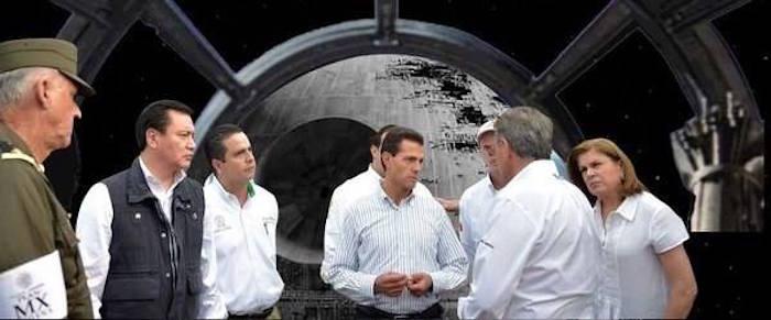 Memes de la visita de Peña Nieto a Pemex en Coatzacoalcos con una escena de star wars de fondo