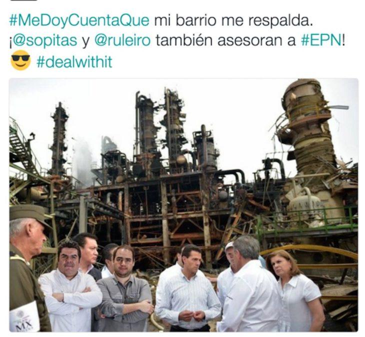 meme de la visita de peña nieto a coatzacoalcos con un estado en Twitter