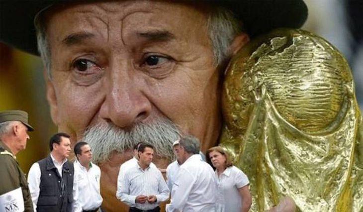 Meme de la visita de Peña Nieto a Pemex en Coatzacoalcos con la imagen de un hombre con una copa de futbol en el fondo