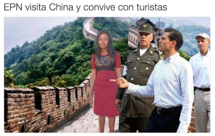 Meme de la visita de Peña Nieto a Pemex en Coatzacoalcos en una imagen de la chica que su sueño era visitar China