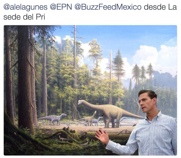 Meme de la visita de Peña Nieto a Pemex en Coatzacoalcos en una escena de dinosaurios
