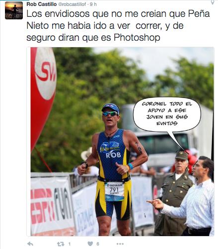 Meme de la visita de Peña Nieto a Pemex en Coatzacoalcos en la carrera de un hombre