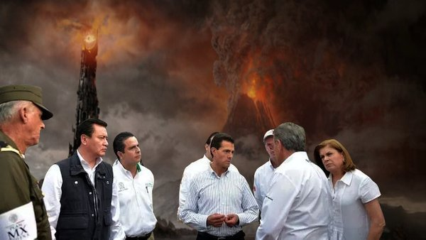 Meme de la visita de Peña Nieto a Pemex en Coatzacoalcos con un volcán haciendo erupción en el fondo