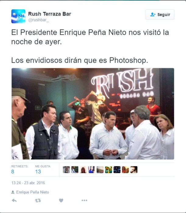 Memes de la visita de Peña Nieto a Pemex en Coatzacoalcos de un estado en Twitter de Rush Bar