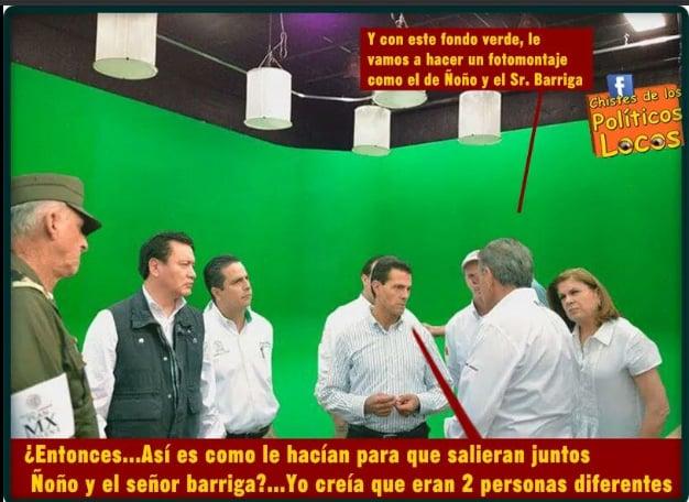 Memes de la visita de Peña Nieto a Pemex en Coatzacoalcos frente a un fondo en color verde
