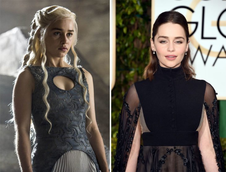 Emilia clarke en la vida real y en su personaje de Game Of Thrones