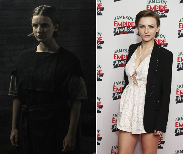 Faye Marsay en la vida real y en su personaje de Game of thrones