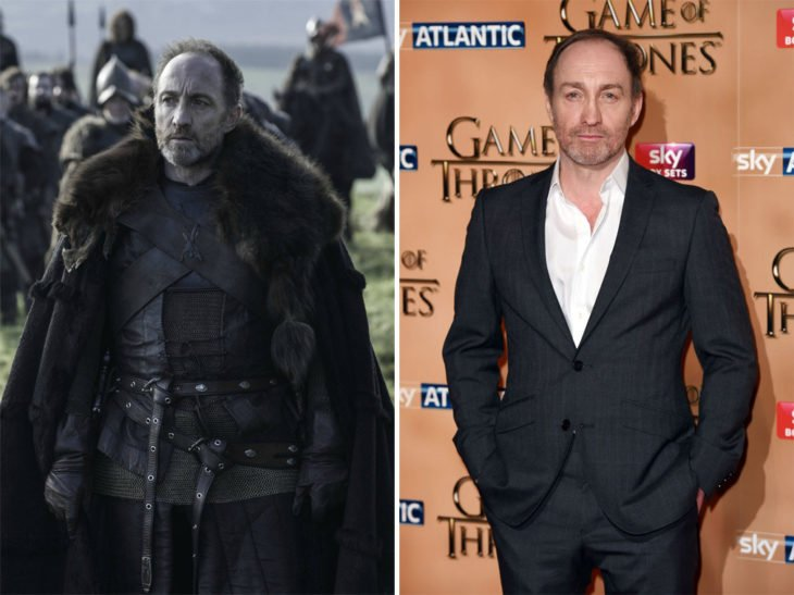 Michael McElhatton en la vida real y en su personaje de Game of Thrones