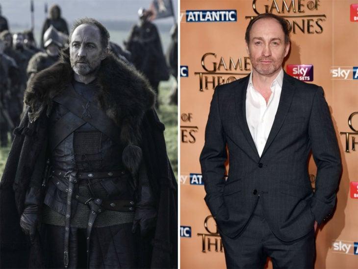 Michael McElhatton en la vida real y en su personaje de Game of Thrones