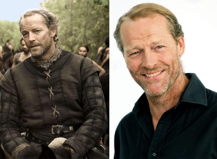 Iain Glen en su personaje de Game Of Thrones y en la vida real