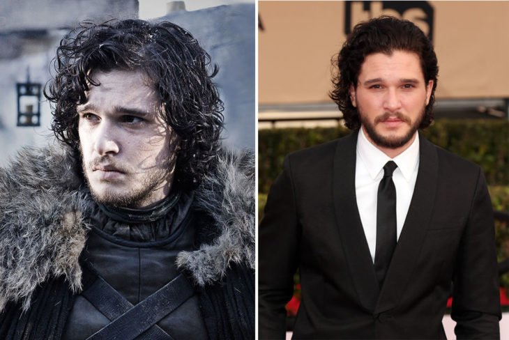 Kit Harrington en su personaje de Game of Thrones y en la vida real