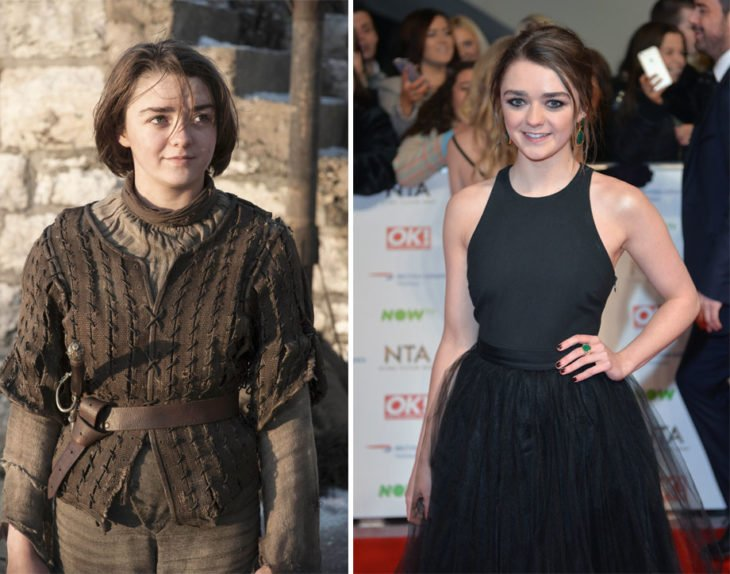 Maisie Williams en Game of Thrones y en la vida real