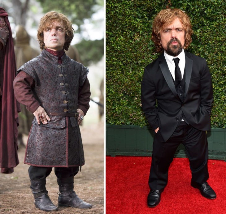 Peter Dinklage en su personaje de Game of Thrones y en la vida real