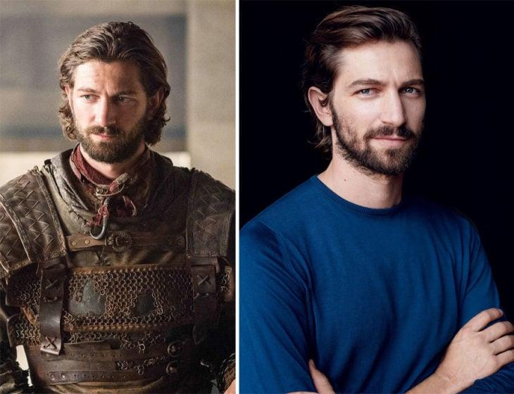 Michael Huisman en la vida real y en su personaje de Game of Thrones
