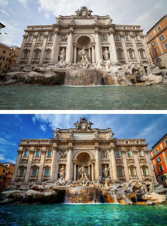 imagen de fonte di trevi, antes y después del photoshop