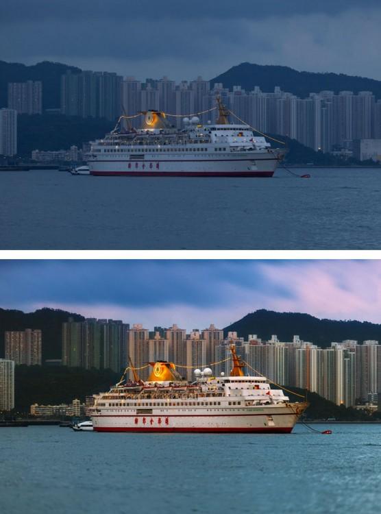 Fotografía del antes y después del photoshop en un crucero navegando